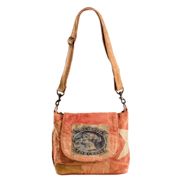 Canvastasche Umhängetasche antikbraun orange Tasche