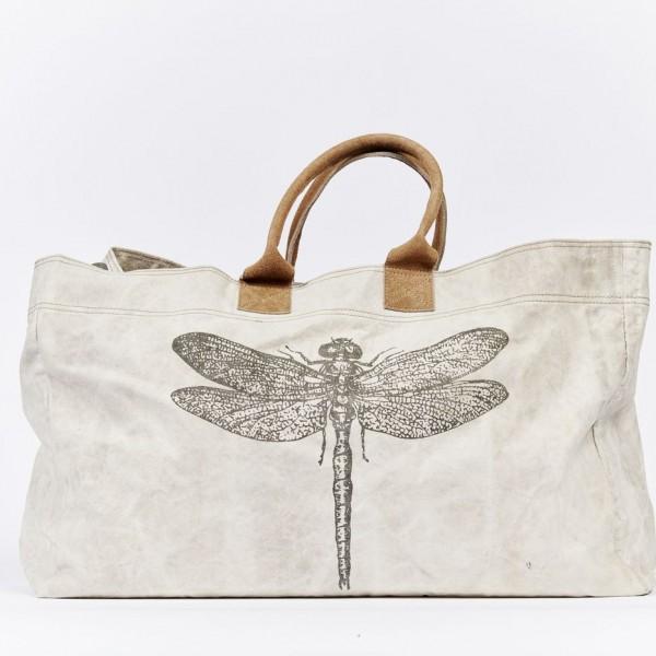 Weekender Reisetasche Tragetasche Leinen  Damentasche Libelle