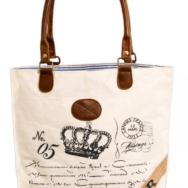 Canvastasche Shopper Leinentasche beige Krone No5
