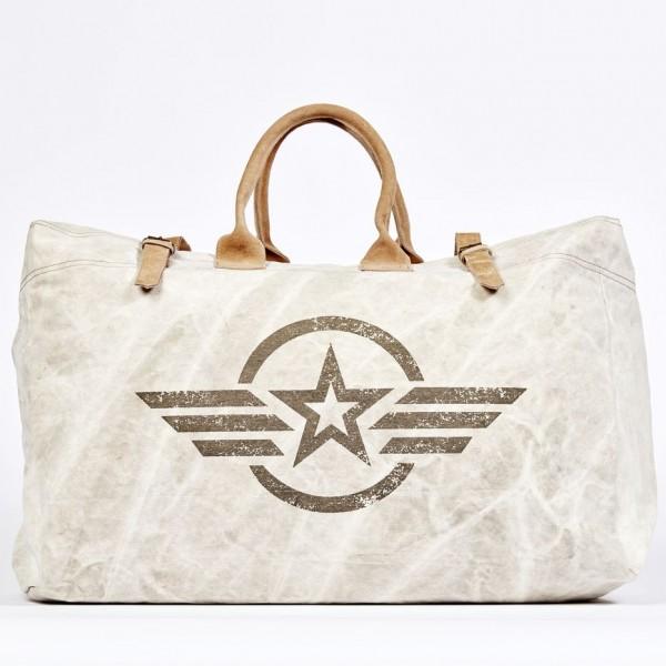 Weekender Reisetasche Tragetasche Leinen  Damentasche US Army