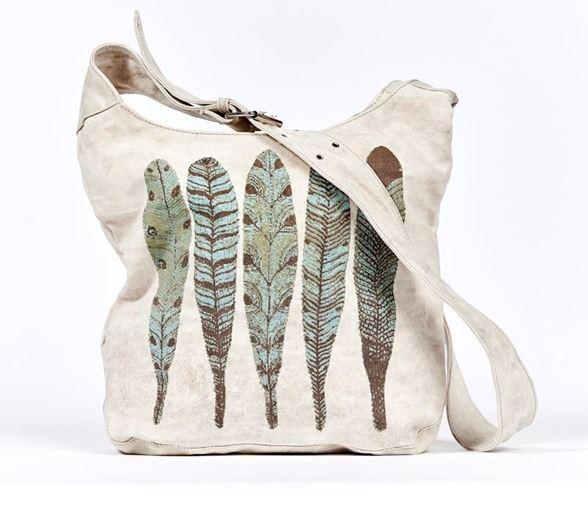 Tasche Schultertasche Umhängetasche Leinentasche Damentasche Tasche Federn