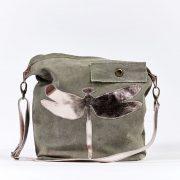 Umhängetasche Schultertasche Tasche grün Recycling Militärzelt Libelle