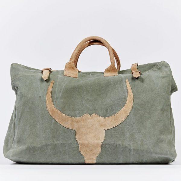 Reisetasche Tasche  Weekender Freizeittasche grün Bulle Militärzelt Recycling