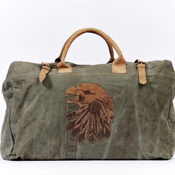 Reisetasche Tasche  Weekender Freizeittasche grün Adler Militärzelt Recycling