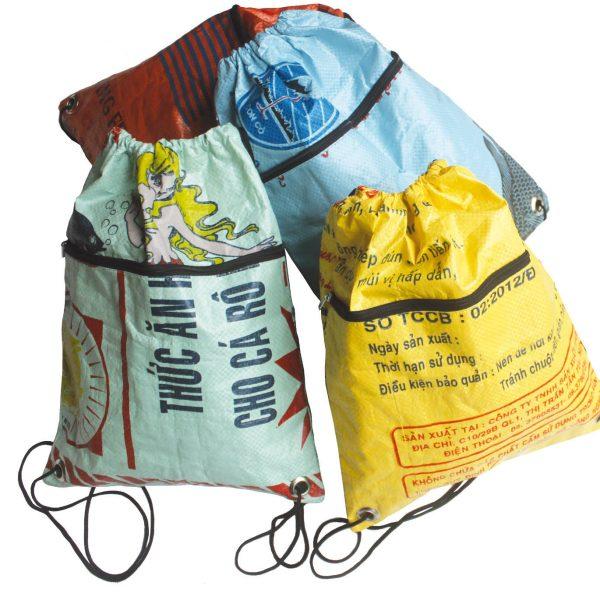 Beadbags-Crispy Rucksack Schule Tragetasche  Bead Bag Nolinearts Reissack Recycling
