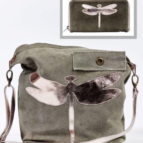 Tasche Schultertasche Geldbörse grün Portomonnaie Nolinearts