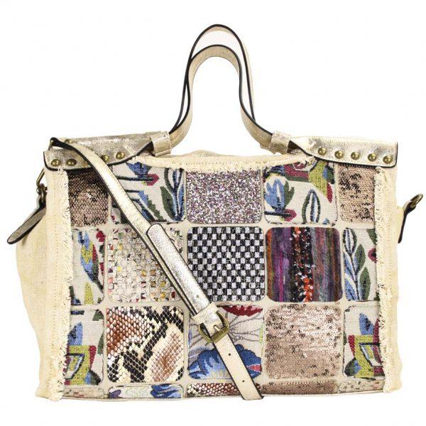 Handtasche Damentasche Patchwork Kunstleder Gold Damentasche Tragetasche malique by me nolinearts