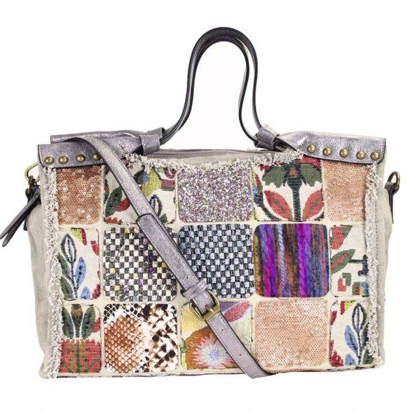 Handtasche Damentasche Patchwork Kunstleder Silber Damentasche Tragetasche malique by me nolinearts