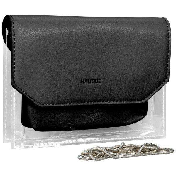 MALIQUE BY ME: Handtasche Abendtasche Umhängetasche Damentasche transparent schwarz
