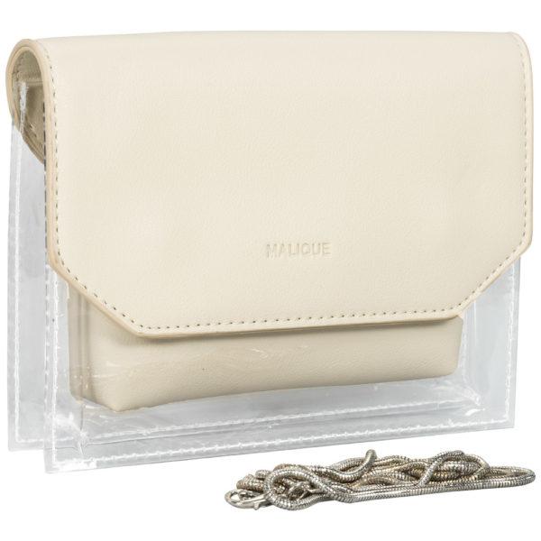 BY ME: Handtasche Abendtasche Umhängetasche Damentasche transparent weis
