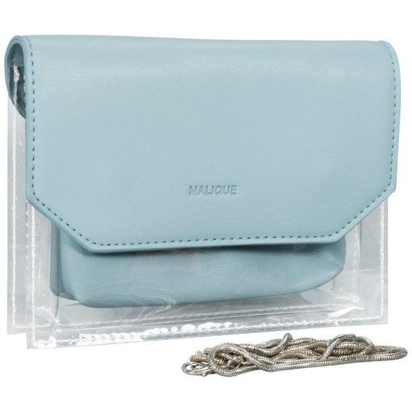 BY ME: Handtasche Abendtasche Umhängetasche Damentasche transparent hellblau