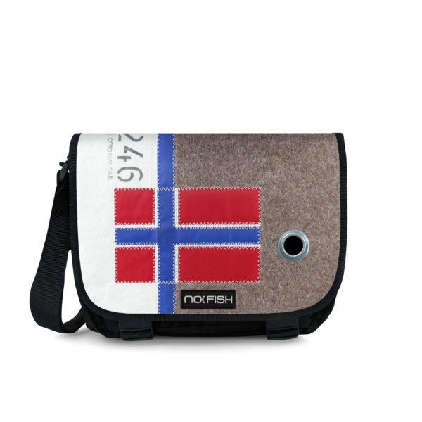 No Fish nofish segeltuch Tasche aus Segeltuch Umhängetasche Schultertasche Nolinearts DEcke & Meer Flagge Norwegen blau Anker