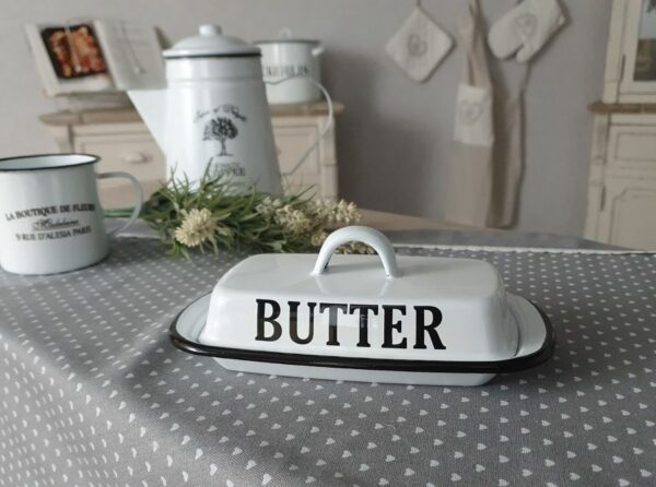 Butter Butterdose Küche cpuntry shabby Emaille