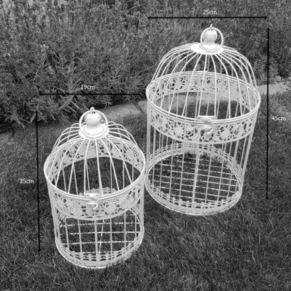 Vogelkäfig 2er Set schmiedeeisen antikweiß Vogel Käfig Gartendeko Garten Nolinearts