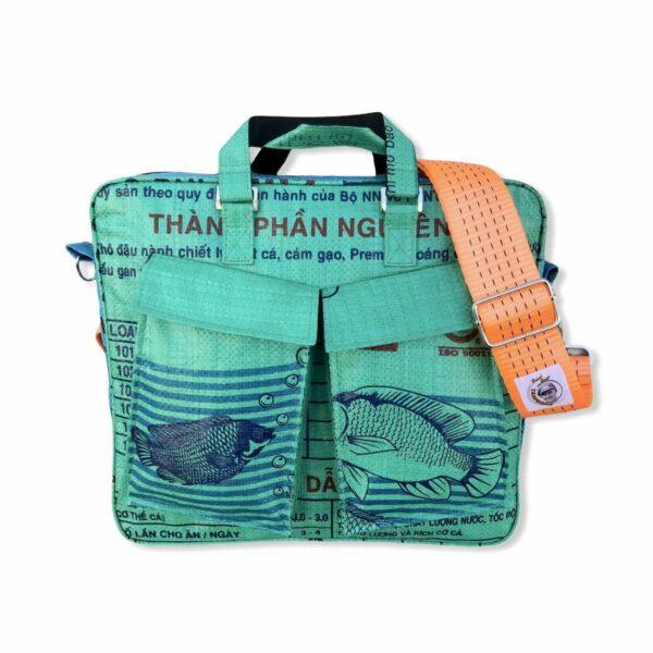 Beadbag Schultertasche Upcycling Recycling Tasche aus Reissack Grün Nolinearts