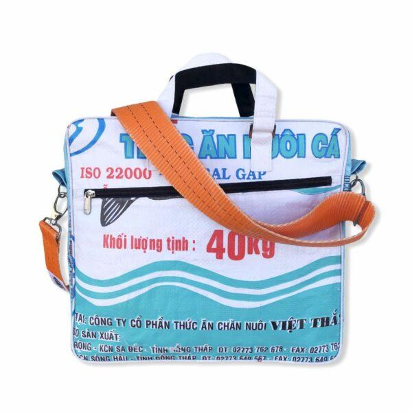 Beadbag Schultertasche Upcycling Recycling Tasche aus Reissack Weiß Blau Nolinearts