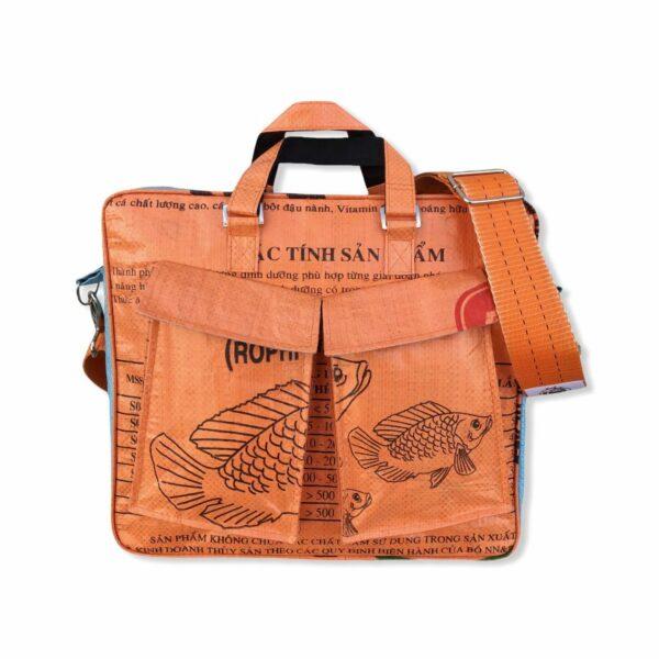 Beadbag Schultertasche Upcycling Recycling Tasche aus Reissack Orange Nolinearts